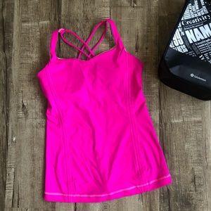 Lululemon Hot Pink Strappy Back Tank Top